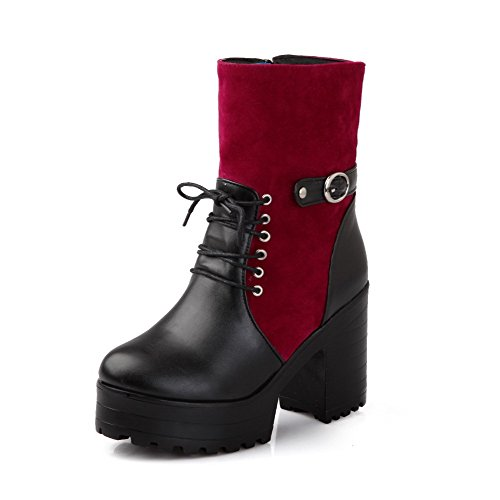 AllhqFashion Damen Blend-Materialien Gemischte Farbe Reißverschluss Hoher Absatz Stiefel Rot