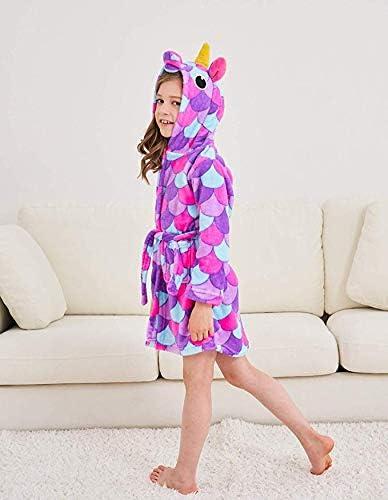 PENGMAI Licorne Peignoir pour Enfants Fille Gar/çon avec Capuche V/êtements De Nuit Pyjamas Robe de Chambre Serviette Doux 2-11Ans