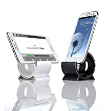 Sinjimoru Aluminum Sync and Charging Dock Stand for Samsung Galaxy Note 3, Note 2 S5, S4, S3, S2, i9100, LG G2, G3, Nexus, Sony Xperia, HTC One M8 (Android MicroUSB 5Pin Cable Included) Silver