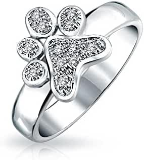 Bling Jewelry Pave CZ Puppy Dog Animal Paw Print Ring Rhodium Plated