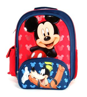Small Size Mickey and Goofy bluee and Red Backpack