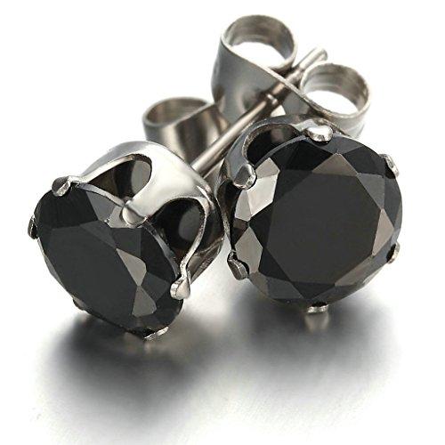 Alimab Jewelry Men's Stainless Steel Royal King Crown Round Stud Earrings CZ Zirconia Black