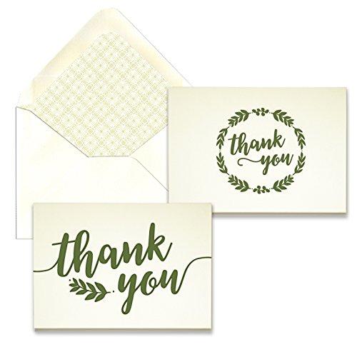 Olive Laurel Letterpress Thank You Card Assortment - Pack of 24-5