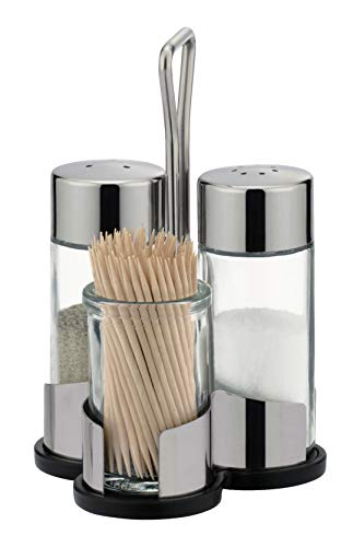 Tescoma Salt-Pepper and Toothpick Dispenser Set with caddy