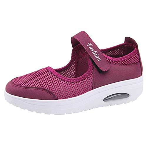 (Sherostore ♡ Women's Mesh Walking Shoes Platform Sandals Lightweight Wedges Loafers Fitness Sneakers Mary Jane Shoes)