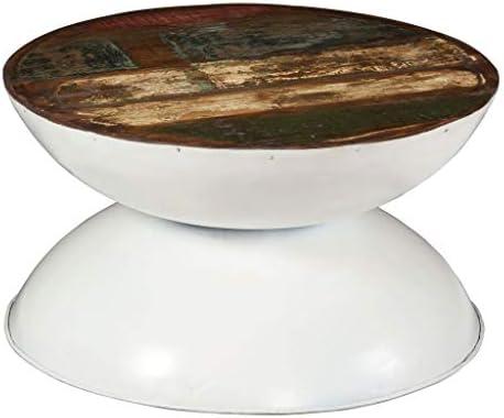 Hyper Online Festnight- houten salontafel rond. 60 cm | koffietafel bijzettafel voor woonkamer slaapkamer | massief oud hout tafelblad wit 60 x 33 cm. Le9quMT