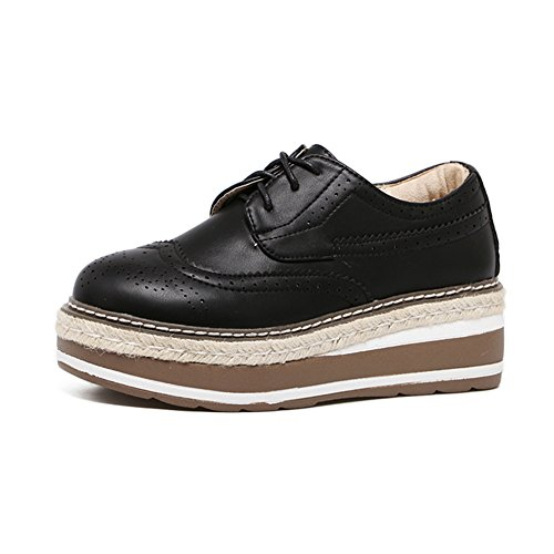 Casual Fashion Lace Platform Mid Sneakers Womens Shoes style Heel Black Up British n0Zw5nxfq