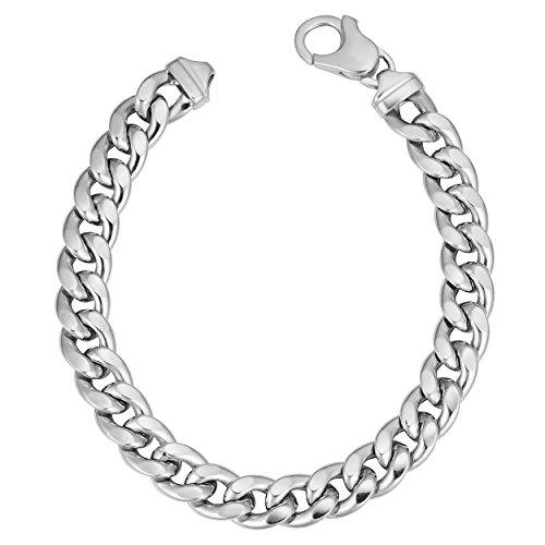 - Kooljewelry Sterling Silver Bold Hollow Curb Link Bracelet (8 mm, 8.5 inch)