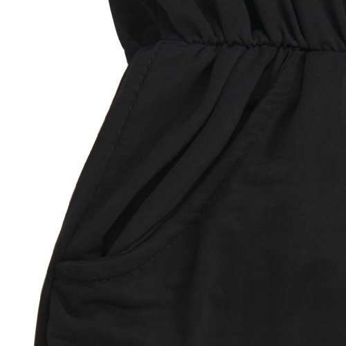 Gamiss Women's V Neck Sleeveless Design Solid Color Casual Elegant Jumpsuit