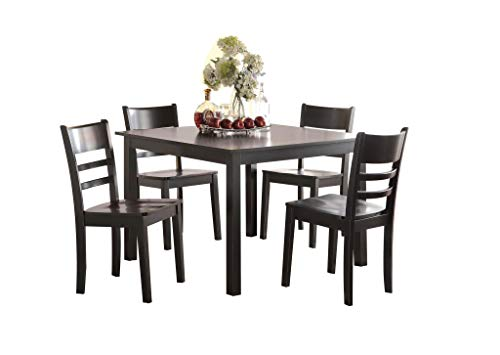 nsitional Style Casual Black Finish Set with Dining Table and Ladder Backrest Side Chairs, 9072500 ()