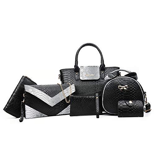 PERHAPS U Large Purses and Handbags Sets for Women Leather Designer Shoulder Bag Crossbody Bags Ladies Fashion Crocodile Tote Bag Satchel 6 PCS Sets (Black) ()