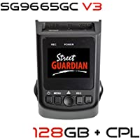 Street Guardian SG9665GC v3 2017 edition + 128GB microSD Card + CPL + USB/OTG Android Card Reader + GPS, Supercapacitor Sony Exmor IMX322 WDR CMOS Sensor DashCam 1080P 30FPS (Best Of - DashCamTalk)