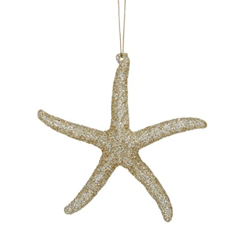 c Gold Glitter Starfish Ornament (Starfish Christmas Ornament)