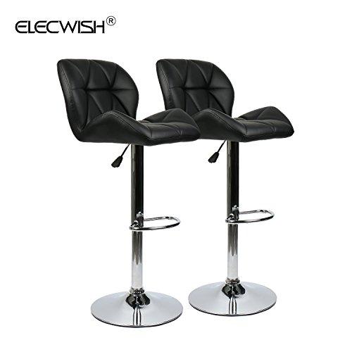 Elecwish Bar Stools Set of 2 PU Leather Seat with Chrome Base Swivel Dining Chair Barstools (Black 2pcs)