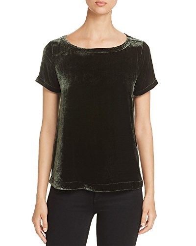 Eileen Fisher Women's Bateau-Neck Velvet Short-Sleeve Top (Dark Pearl Hemlock Green, Petite Medium)