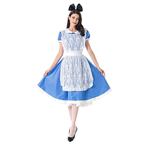 Togethor Dirndl Dress 3-Piece Long German Wear Party Oktoberfest Waitress Dress with Apron and Headwear Blue
