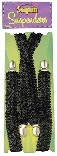 Forum Novelties Men's Novelty Adult Sequin Suspenders, Black, One Size -