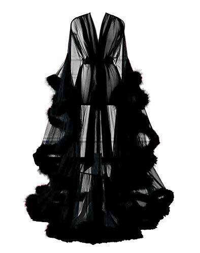 Changuan Sexy Feather Bridal Robe Tulle Illusion Long Wedding Scarf New Custom Made Black S/M