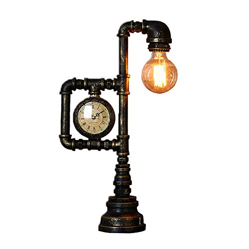Water Pipe Desk Lamp, Motent Industrial Vintage Loft Rust Iron Water Pipe Table Light Antique Steampunk 1-Light Desk Accent Lamps with Clock for Kitchen Bar Warehouse - Type B / 10.6 inches Width
