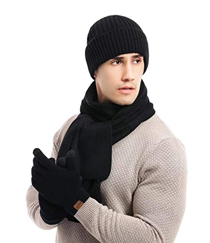 Alltops Boy Men Winter Beanie Hat Scarf Gloves Set Touch Screen Mittens