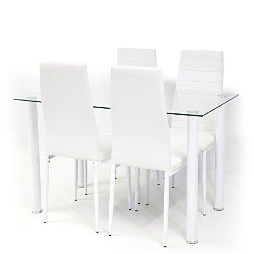 Tischgruppe Glastisch TORINO Klarglas mit 4 x Stuhl MILANO weiss
