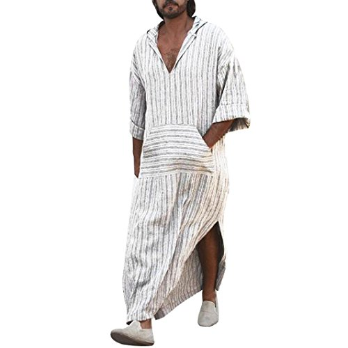 lotus.flower Mens Ethnic Robes Loose Striped Long Sleeve Hooded Vintage Casual Dress Kaftan (L, White)