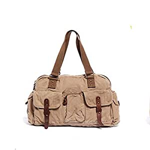 Style Men Khaki Large Capacity Outdoor Canvas Bags for Travelling Fashion Appearance Shopping Business (Color : Brown, Size : S)