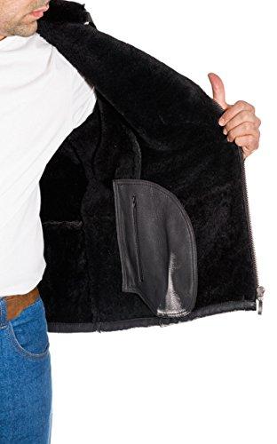 Pelliccia Giacca Uomo Nero In Pelle Zip Shearling Di Laterale Pecora Elegante Twv4Tq6x