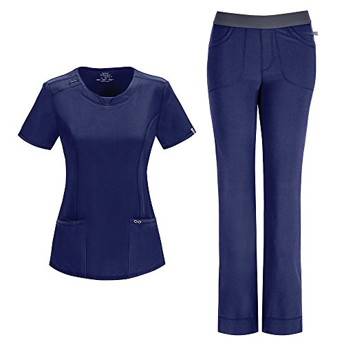 Cherokee Infinity Women's With Certainty Round Neck Top 2624A & Low Rise Pant 1124A Scrub Set (Antimicrobial) (Navy - (Mock Neck Set)