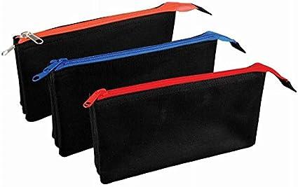 Estuche plano triple bolsillo negro -Ideal para escuela/universidad/maquillaje uni: Amazon.es: Oficina y papelería