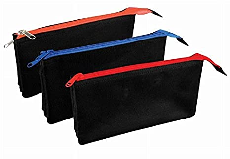 Estuche plano triple bolsillo negro -Ideal para escuela ...