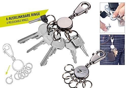 TROIKA PATENT TROIKA-originale moschettone gancio 6 anelli intercambiabili Portachiavi basta con i portachiavi in disordine Organizer per chiavi KYR60//GM incl organizzazione chiavi