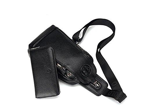 viaje de los de de bolsa calidad enviar la bolso apoyo cofre bolsa alta negocios de diseño Pecho suave de de black hombres superficie gran ZXJ de mensajero de para capacidad UgqIWwcS