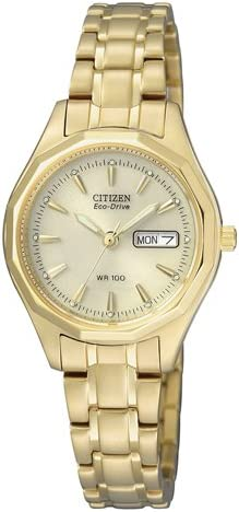 Citizen EW3142-56PE - Reloj analógico de Cuarzo para Mujer, Correa de Oro Amarillo Color Dorado (Solar)