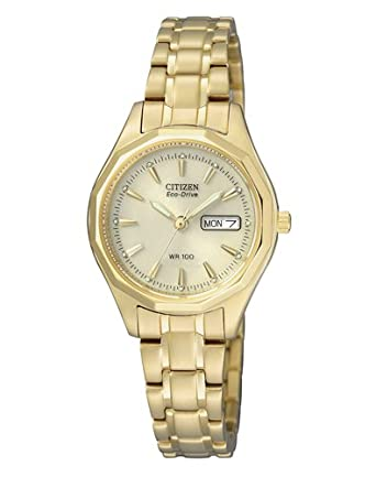 Citizen EW3142-56PE - Reloj analógico de Cuarzo para Mujer, Correa de Oro Amarillo