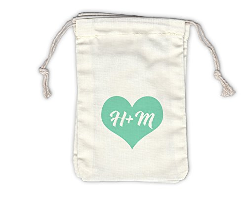 Heart with Initials Wedding Favor Bags - Personalized Drawstring Fabric Pouches in Mint Green - Set of 12 (1010)