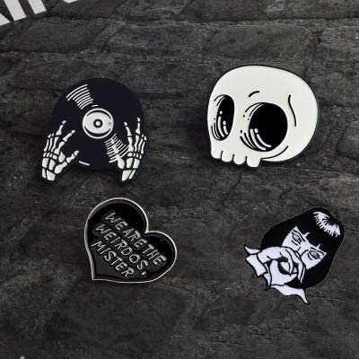 10 PCS Enamel Pin Set Punk Cute Brooches for Party Skull Witch for Costume Decoration