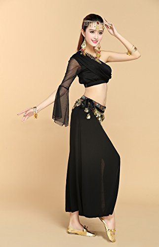 Honeystore Shoulder Belly 2017 Dance 8PC Damen Latein One Neuheiten Pailletten mit Schwarz Dance Kleid rXgIwX