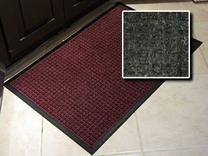 Heavy Duty Entry Door Mat - ''FloorGuard'' - 3' x 8' - Charcoal - Commercial/Industrial Highly Absorbent Entrance Doormat