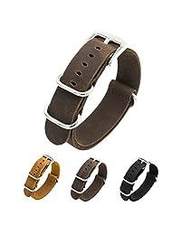 CIVO Genuine Crazy Horse Leather Watch Bands Handmade NATO Zulu Military Swiss G10 Style Watch Strap 20mm 22mm (22mm, Dark Brown)