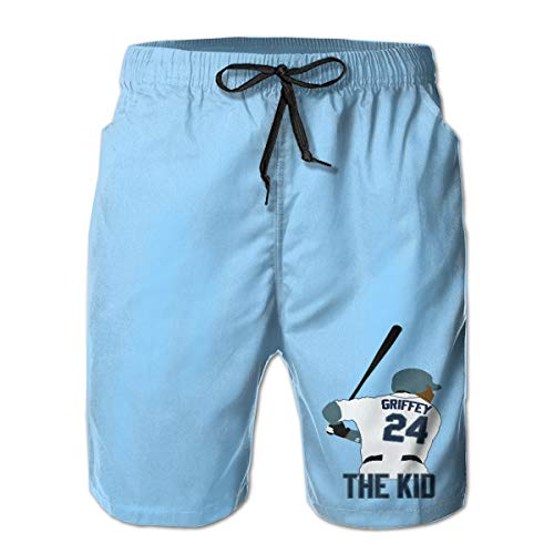 Men's Swim Trunks Quick Dry Seattle Griffey The Kid Surfing Beach Board Shorts with Side Pockets White (Black Jr White Griffey Shoes Ken)