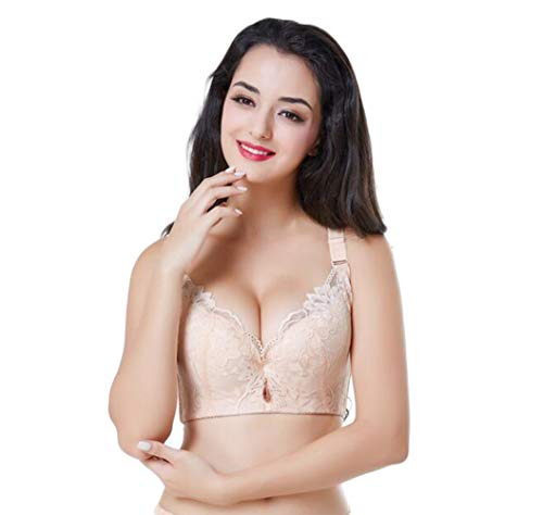 - Sexy Women Skin Lace Floral Push Up Super Plus Size Underwire Soft Everyday Bras Brassiere 42D Cup