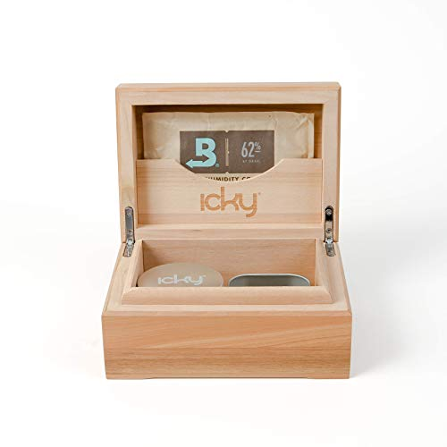Cigar Tin Box - Icky Box 2 Tin- Keeps Herb at Ideal Humidity, 100% Cherry Wood, Boveda Pack & Grinder Included (Natural)