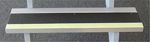 MASTER STOP 409NS20048165 Photoluminescent Stair Tread, Glow Front, Black Back, 1'' Height, 9'' Depth, 48'' Length, Aluminum, Glow in The Dark, Antislip Surface
