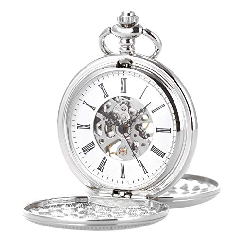- SIBOSUN Double Open Skeleton Pocket Watch Mechanical Hand Wind Full Hunter Silver Fob Watch (4. with Albert t-bar Lobster Buckle Chain, Silver Movement, PWH009)