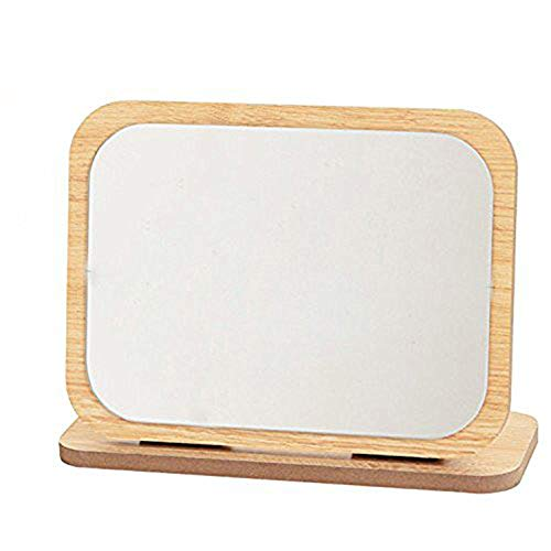 GOHIDE High Definition Cosmetic Mirror Wooden HD Makeup Mirror Simple Beauty Mirror Dressing Folding Simple Portable Large Desktop by GOHIDE (Image #1)