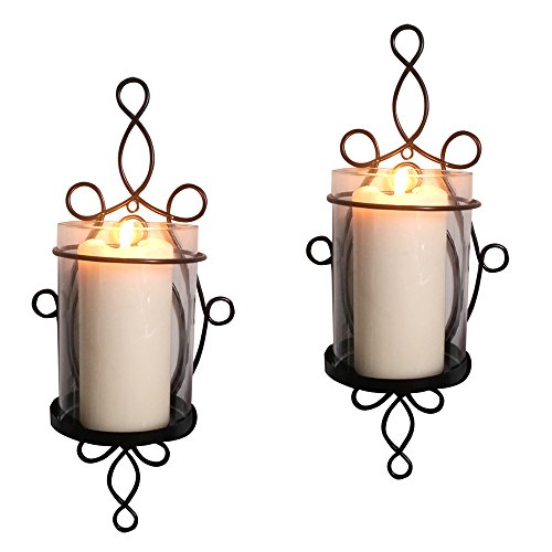 Raphael Rozen Modern Glass Sconce Set: 2 Piece Wall Mounted Decorative Candle Holder Set: Clear Glass Holders (Wall Candle Mounted)