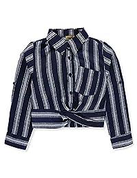 Mona Lisa Girls' Banded Stripe Button-Down Top