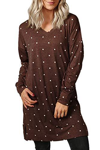 (titame Womens Casual Long Sleeve Side Split Lounge Tunic Dress Long Top Coffee)