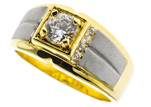Sujak Jewelry Two Tone Frosted 2 Carat White Sapphire simulated 18K Gold Overlay Men's Ring Size ()